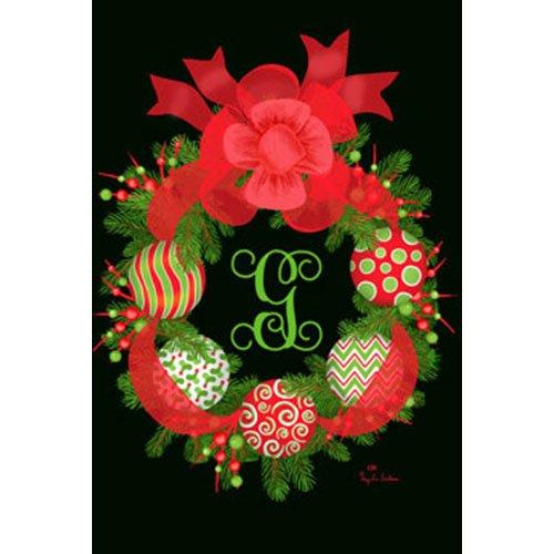 Eleganter Kranz mit Stickerei Monogramm G 30,5x 45,7cm Christmas Garden Flagge -