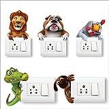 AH Decals 'Animals Cute 3D Cartoons' Switch Board Wall Sticker (PVC Vinyl, 30 cm x 30 cm)