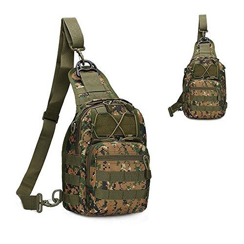 Tekon Outdoor-Zaino tattico militare a tracolla Sport set per campeggio, escursionismo, Trekking, Set Rover-Marsupio da petto - Digital Camo