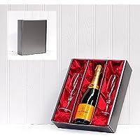 Veuve Clicquot giallo Champagne etichetta e 2 flauti champagne in una scatola regalo in argento (Etichetta Champagne Brut)