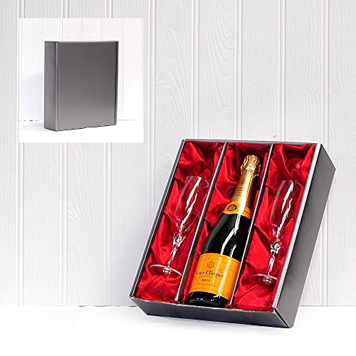 Fine Food Store Veuve Clicquot Yellow Label Brut Champagne and 2 Champagne Flutes in Satin Inserts with Luxury Silver Gift Box 75 cl