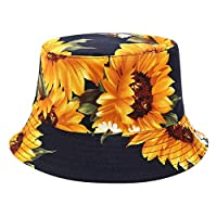 uBabamama Unisex Sunflower Printing Bucket Hat Sun Visor Cap Double-Sided Wearing Visor Travel Folding Basin Fishing Hat(Navy)