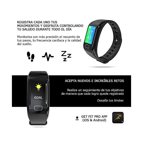 NK Pulsera de Actividad Inteligente Smartband-02, Frecuencia cardíaca, Monitor del sueño, Resistencia al Agua IP67, Podómetro, Color Negro 5