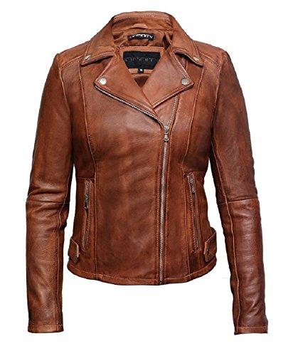 Brandslock Damen Leder Biker Jacke aus hochwertigem, gewachstem Lammleder (BRÄUNEN, 5XL) (Schaffell-leder Braune)