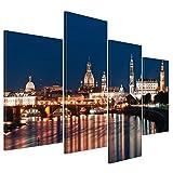 Kunstdruck - Dresden Skyline bei Nacht - Deutschland - Bild auf Leinwand - 120x80 cm 4 teilig - Leinwandbilder - Städte & Kulturen - Sachsen - Elbe - Altstadt - beleuchtet