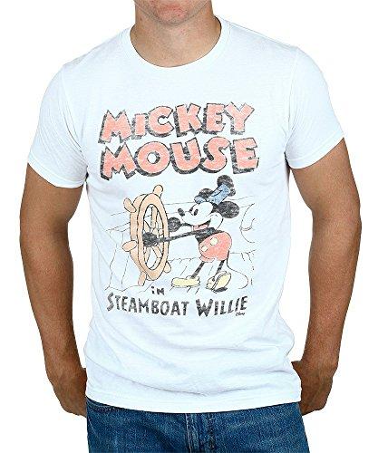 (Junk Food Herren Jungen Mickey Mouse Steamboat Willie Classic Öffnung T-Shirt Gr. S, weiß)