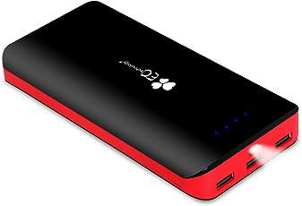 EC Technology Powerbank 22400 mAh Externer Akku mit 3 USB,Auto IC Ausgangen hohe Kapazitat Eingang Port Tragbar Power Bank für iPhone iPad Samsung und andere Smartphones Schwarz/Rot