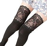 Frauen Mädchen Winter Overknee Beinwärmer Kniestrümpfe Weiche Baumwollsocken Spitze Legging