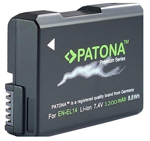 ( Auch für Nikon D3400 D5600 ) PATONA PREMIUM Qualitätsakku für EN-EL14 EN-EL14a - Intelligentes Akkusystem - (echte 1200mAh)