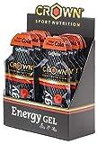 Crown Sport Nutrition 12 x Energy Gel + Cafeína (40g), Gel energético textura líquida con cafeína, aminoácidos y electrolitos para deportistas, Sabor de Cola