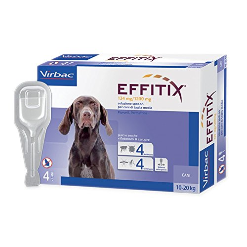 EFFITIX MEDIUM (10-20 kg) - Efficace antiparassitario per cani contro pulci, zecche e flebotomi