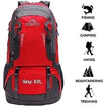 Gohyo 60L Zaini da Escursionismo leggero impermeabile Unisex per Alpinismo Viaggio Trekking Campeggio Red