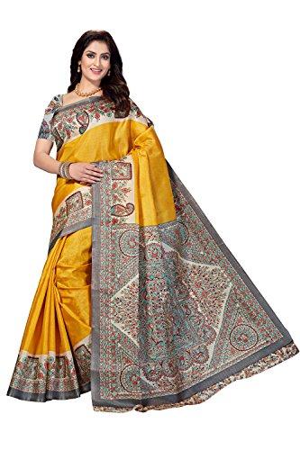 Rani Saahiba Women's Art Bhagalpuri Silk Madhubani Printed Saree ( Skr3265_Yellow )