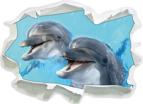 Delfinpaar , Papier 3D-Wandsticker Format: 92x67 cm Wanddekoration 3D-Wandaufkleber Wandtattoo