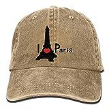 uykjuykj Unisex I Heart Paris Effel Tower Yarn-Dyed Denim Baseball Cap Hunting Cap for Men Or Women Adjustable Unique Personality Cap Baseballmütze