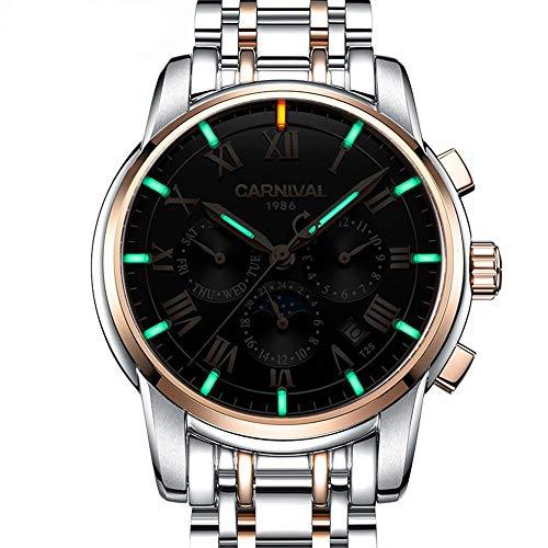 HRTJJT Mens Watch Calendar Date Tritium Luminoso Impermeabile Military Diving Orologio meccanico Full Steel, UNO