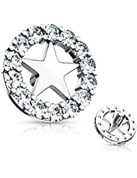fe335cec4 BYB Jewelry Star Center CZ Circle Surgical Steel Dermal Anchor Top