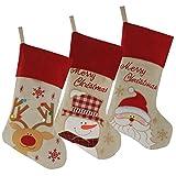 Wewill marca Bella Natale Calze Set di 3 Santa, renne, Snowman Xmas 3D Character peluche Biancheria Hanging Tag maglia bordo 17-Inch/ 45CM