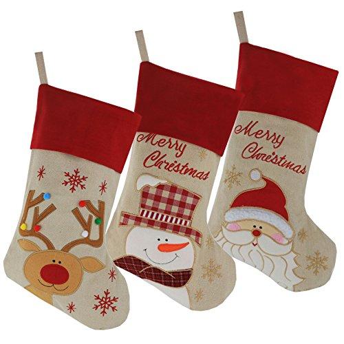 WEWILL Marke Lovely Weihnachtsstrümpfe Set von 3 Santa, Rentier, Schneemann Xmas Character 3D Plüsch Leinen Hanging Tag Strickborte, 17-Inch/ 43CM