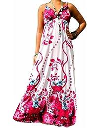 Robe Longue Femme Angela Rope - Fleur Rose, 36-38