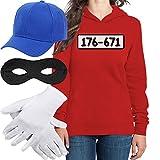 Shirtgeil Panzerknacker Kostüm Hoodie + MÜTZE + Maske + Handschuhe Frauen Kapuzenpullover Hoodie Large Rot