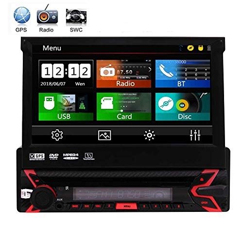 EINCAR Universal Single 1 Din 7 Zoll kapazitive Touchscreen Autoradio Autoradio GPS-Navigation Auto-DVD-Player Auto-AM/FM-Radio-USB/SD-Anschluss abnehmbaren Panel-Steuergerät Bluetooth + Free