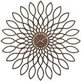 KARLSSON MDF Sunflower Walnut Wood Veneer Wall Clock
