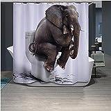 Violetpos Elefanten genießen ein angenehmes Leben Duschvorhang Badezimmer Dekorative 120 x 180 cm