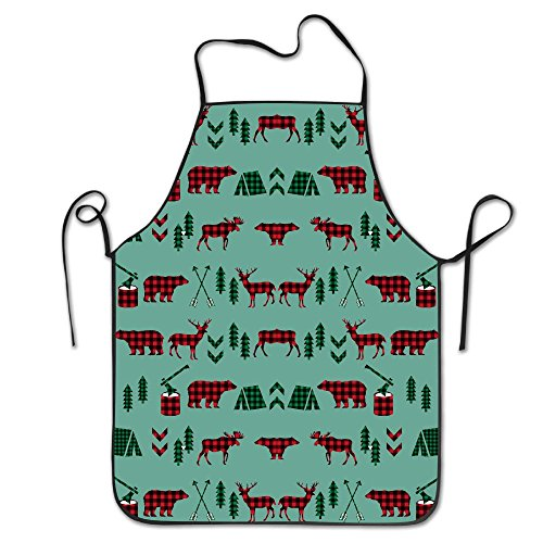 Bear Reindeer Woodland Christmas Camping Unisex Cooking Kitchen Aprons Chef Apron Bib