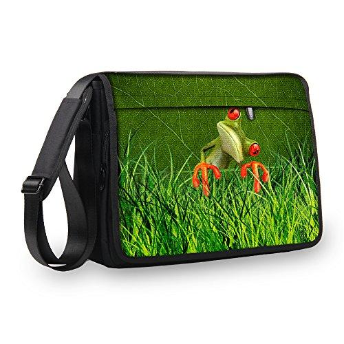 MySleeveDesign Messenger Bag Laptoptasche Notebooktasche mit Tragegurt - Tasche für Laptop & Notebook der Größen 13,3 Zoll / 14 Zoll / 15,6 Zoll / 17,3 Zoll - VERSCH. Designs - Orange Frog - 15