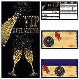 VIP EINLADUNG BUBBLES Set (12 Karten und 12 Umschläge) Premium Einladungskarten für VIP Party Silvester Event Einweihung Geburtstag von Breitenwerk