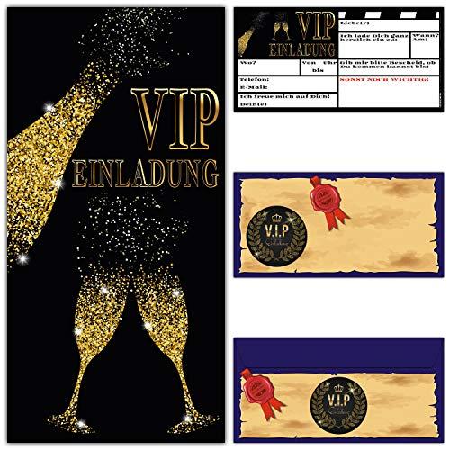 S Set (12 Karten und 12 Umschläge) Premium Einladungskarten für VIP Party Silvester Event Einweihung Geburtstag von Breitenwerk ()