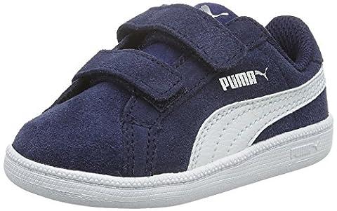 Puma Unisex-Kinder Smash Fun SD V Low-Top, Blau (Peacoat-Puma White 02), 22 EU