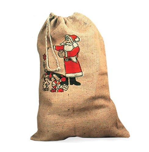 Nikolaus-Sack mit Weihnachtsmann-Aufdruck aus (Weihnachtsmann Kostüm Grüne)