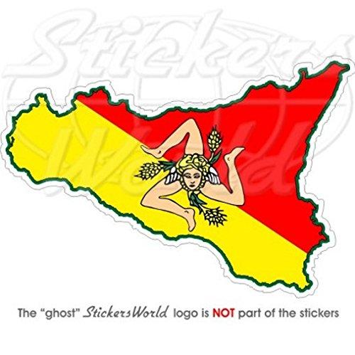 Sicile Sicilien map-flag Italie 10,9 cm (110 mm) en vinyle Bumper Sticker, autocollant