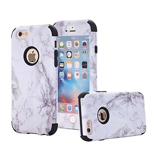 Fernglas Gebaut Mit Kamera (iPhone 6/6S Hülle, MUTOUREN 3 in 1 Silikon Schutzhülle mit Marmor Muster Bumper Case Anti Scratch Handyhülle für iPhone 6/6S (4,7 Zoll) (Weiß/Weiß/Schwarz))
