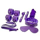 7 Pcs De Cuero Felpa Bondage Equipo Kits Para El Amor - Púrpura