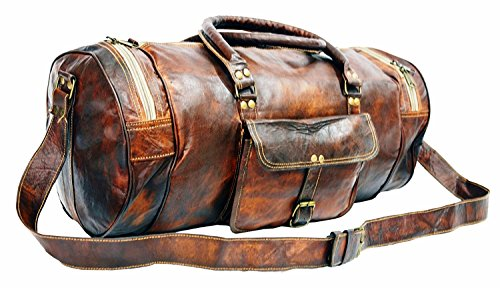 COOL BAG Genuine Leather Travel Duffel Outdoor Luggage Bag in Round Shape 20