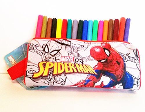 Estuche rectangular escolar SPIDER-MAN (Marvel) 100% polyester, cremallera de metal (20 x 8 x 6 cms) + 18 rotuladores…