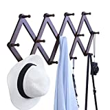 OROPY Wooden Wall Mounted Coat Rack, Vintage Accordion Expandable Clothes Hat Hanger