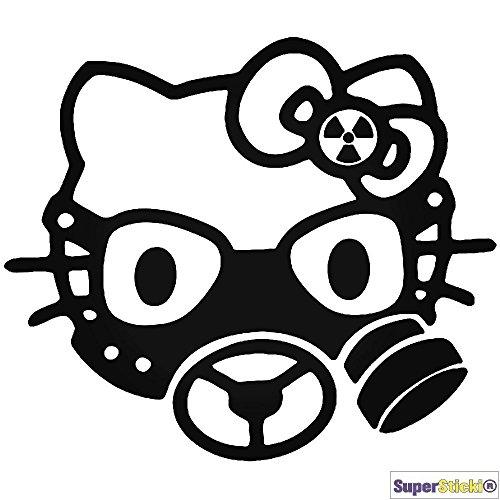 (Hello Kitty radioactive Gasmaske Autoaufkleber Wandtattoo ca 15 cm Aufkleber Decal von SUPERSTICKI® aus Hochleistungsfolie geplottet,freigestellt ohne Hintergrund für alle glatten Flächen UV und Waschanlagenfest Profi Qualität)