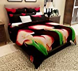 Home Candy Elegant 152 TC 3-D Microfiber Double Bedsheet with 2 Pillow Covers - Floral, Multicolour
