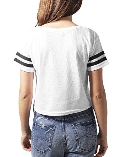 Urban Classics Damen T-Shirt Ladies Mesh Short Tee Mehrfarbig (wht/blk 224)