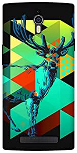 The Racoon Lean Deer Graphing hard plastic printed back case / cover for Oppo Find 7
