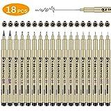 Zwini Fineliner Set di 18 nero Pigment Liner micro penne da disegno per schizzi disegno redazione ufficio documenti Comic manga scrapbooking e scuola utilizzando