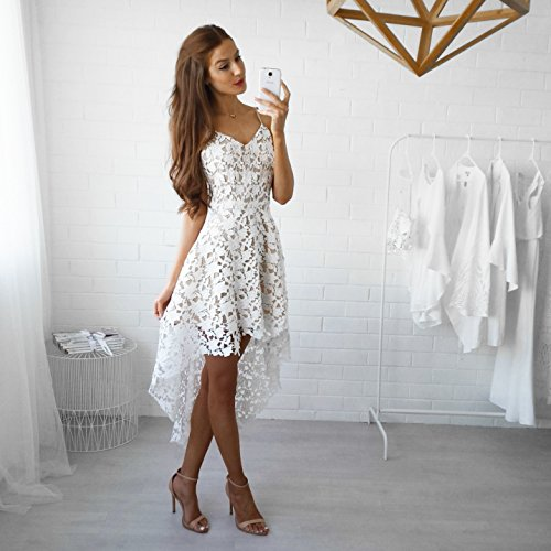 Kleider Damen Lang IHRKleid® Sommer Elegante Lace Kleid Langer Rock Weiß