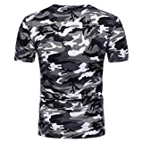 VEMOW Heißer Sommer Männer Casual Sport Camouflage Print O Neck Pullover T-Shirt Top Bluse (EU-52/CN-M, Grau)