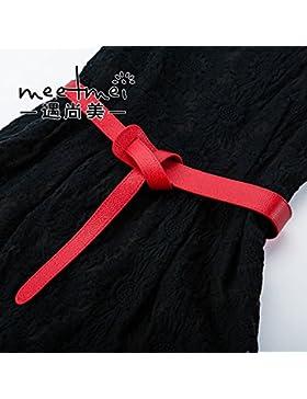 SILIU*Untar la correa de amarre salvaje moda femenina Correa embellecedor de cuero con cuero fino) , Rojo ,120cm