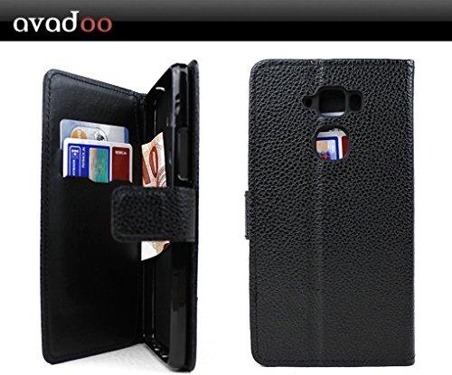 avadoo® Medion Life X5520 Flip Case Cover Tasche Schwarz mit Magnetverschluss und Dualnaht als Cover Tasche Hülle