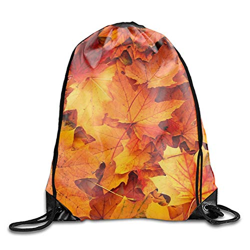 uykjuykj Tunnelzug Rucksäcke, Fall Leaf Nylon Drawstring Drawstring Backpack for Kids Fall Leaf 9 Lightweight Unique 17x14 IN